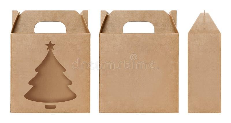 Weihnachtsbaumform Fenster des Kastens schnitt braune Verpackungsschablone, leere lokalisierter weißer Hintergrund Kraftpapier-Ka stockbild