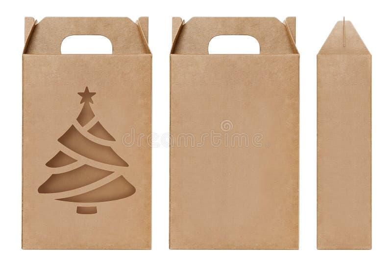 Weihnachtsbaumform Fenster des Kastens schnitt braune Verpackungsschablone, leere lokalisierter weißer Hintergrund Kraftpapier-Ka lizenzfreie stockfotografie