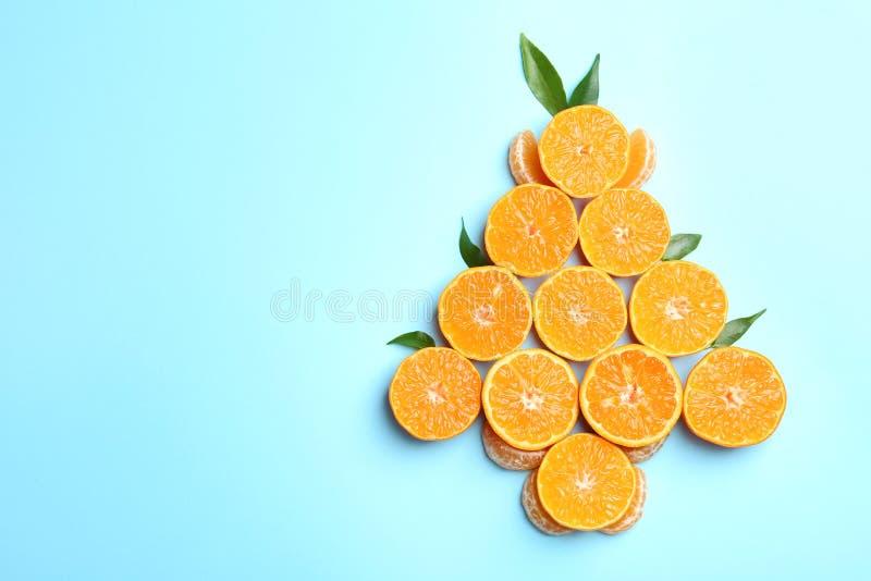 Weihnachtsbaumform gemacht mit saftiger Tangerine stockfotos