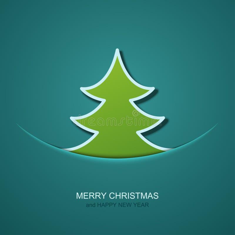 Weihnachtsbaumhintergrund des Vektors moderner Einladung von Weihnachten oder von guten Rutsch ins Neue Jahr stock abbildung