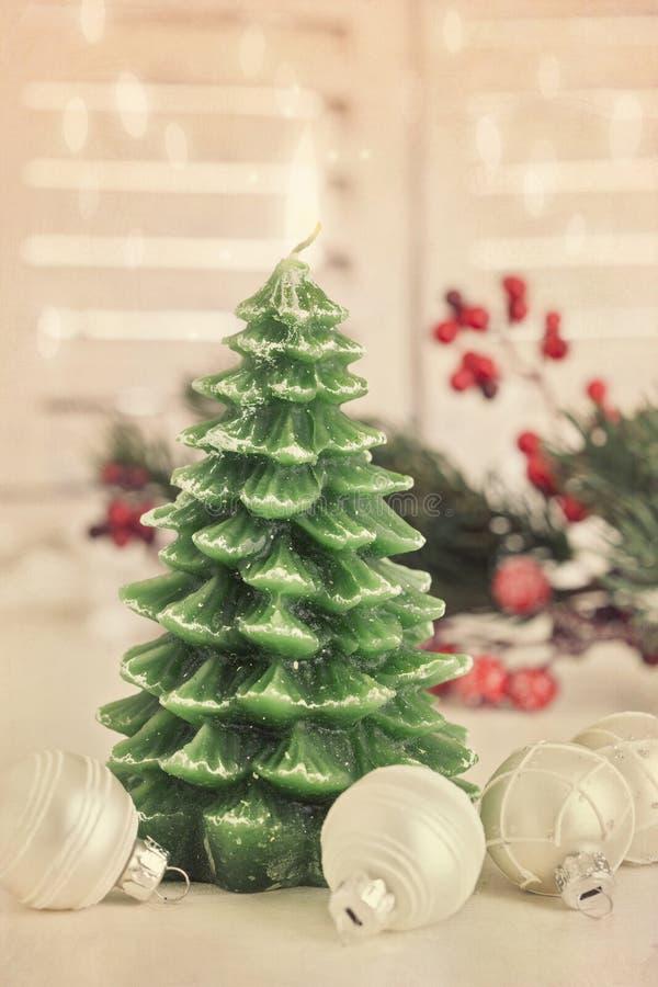 Weihnachtsbaumkerze stockbilder