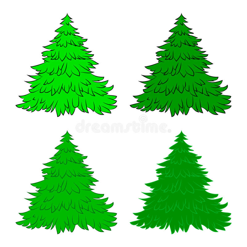 Weihnachtsbaumsatz, Karikaturdesign für Karte, Ikone, Symbol Wintervektorillustration lokalisiert auf weißem Hintergrund stock abbildung