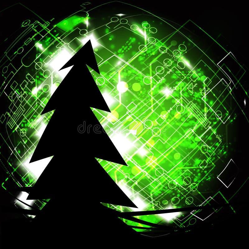 Weihnachtsbaumschattenbild auf elektrischem Drahttechnologiehintergrund lizenzfreie abbildung