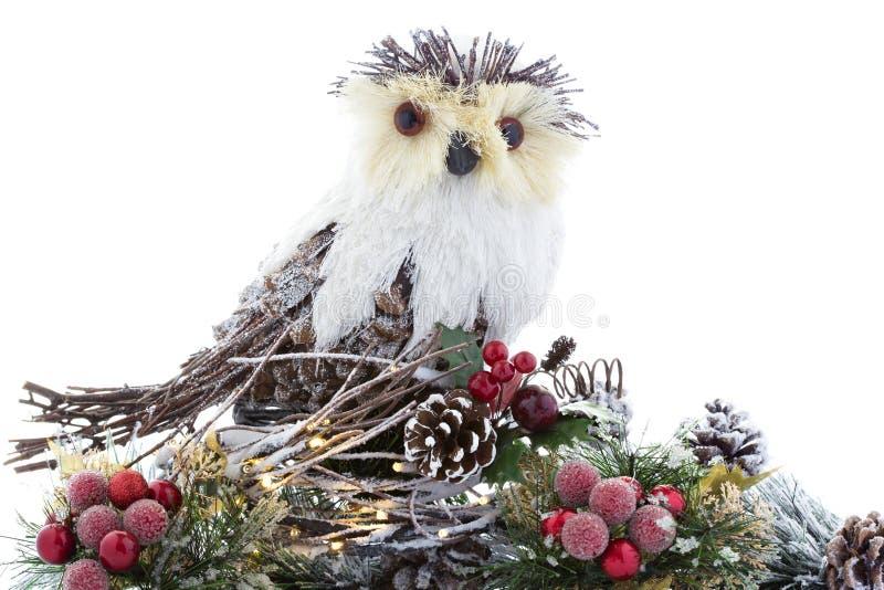 Weihnachtsbaumschmuck kluges Owl Nest Lights Vintage Rustic lizenzfreie stockfotos