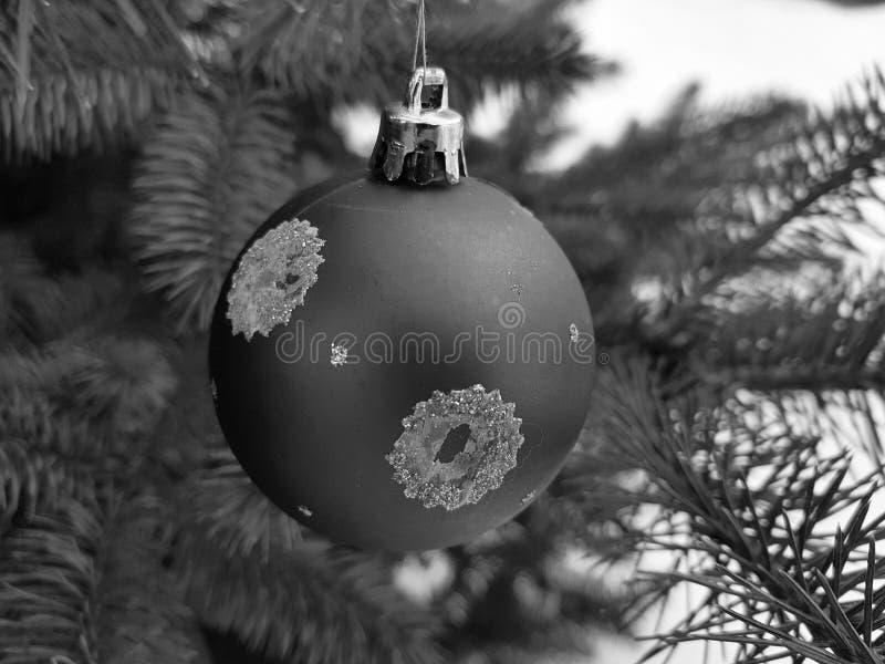 Weihnachtsbaumspielzeug auf einer Niederlassung im Winter auf einem Hintergrund des Schnees stockbilder