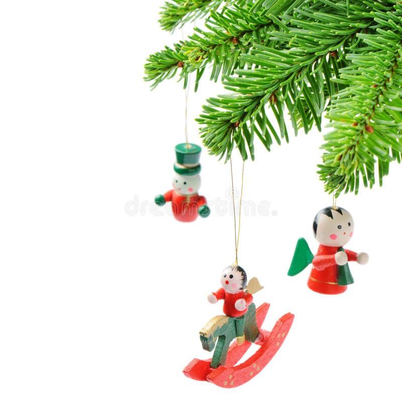 Weihnachtsbaumzweig mit Weinlesedekoration lizenzfreie stockfotos