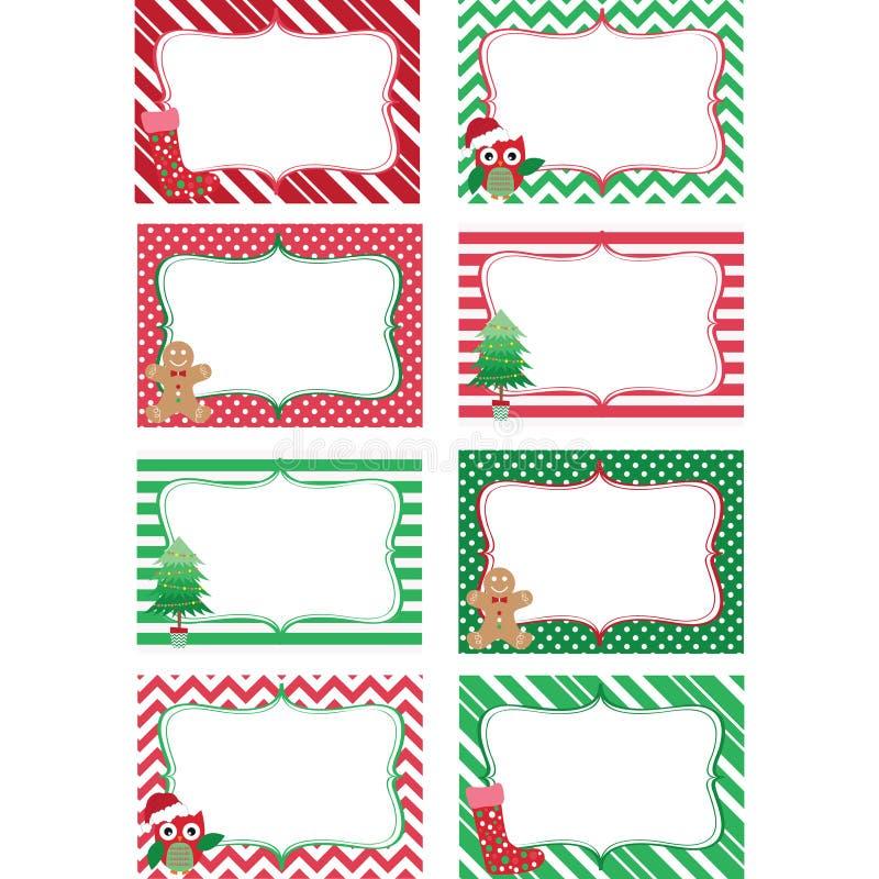 Weihnachtsbedruckbare Kennsatzfamilie Foto-Rahmen, Geschenk-Tags, Einladung stock abbildung