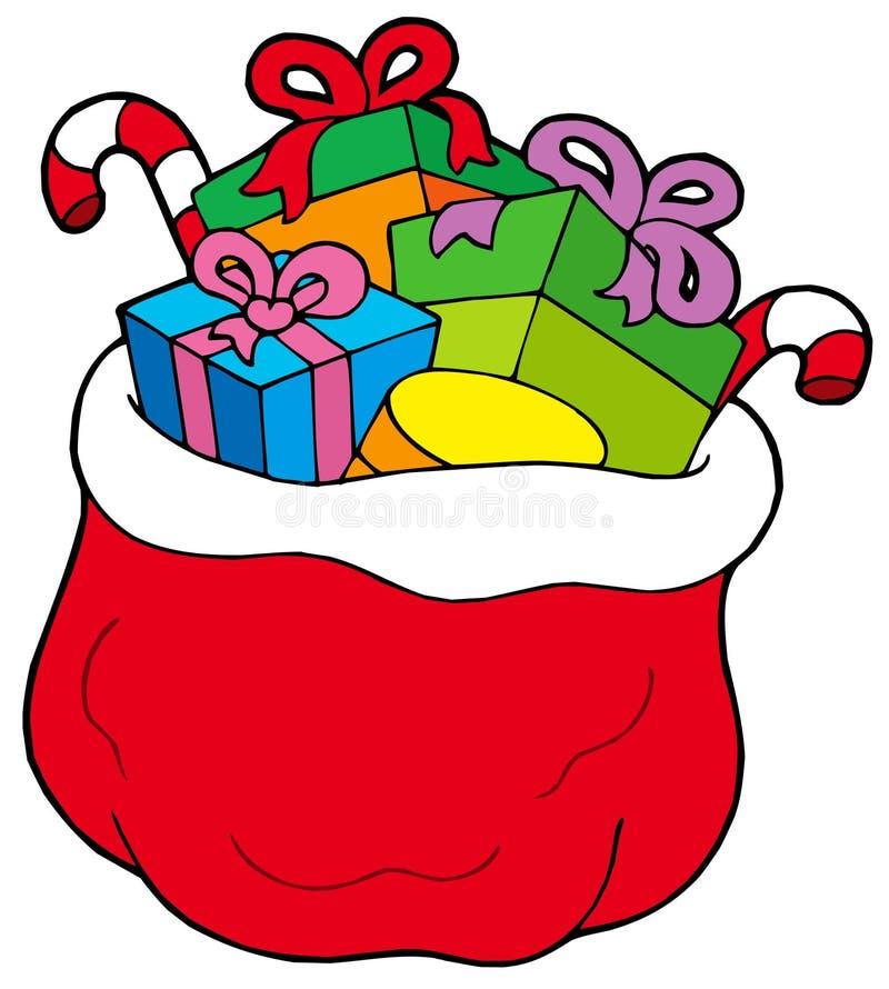 Weihnachtsbeutel mit Geschenken lizenzfreie abbildung
