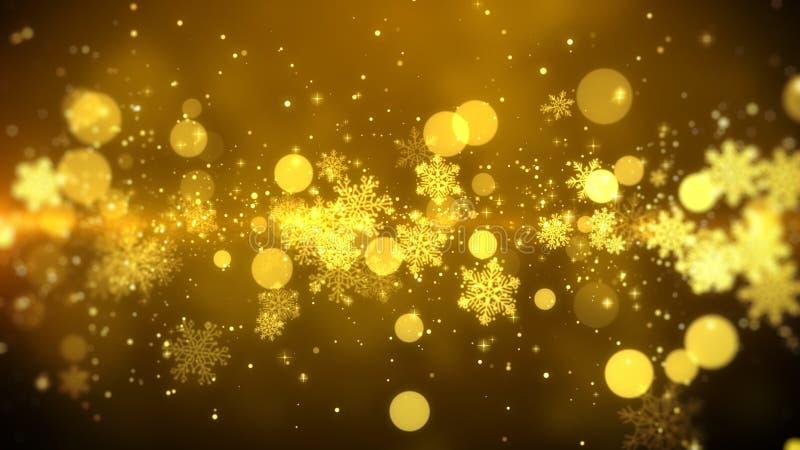 Weihnachtsbewegungshintergrundgesamtlängen-Goldthema, mit der goldenen Schneeflocke beleuchtet im stilvollen und eleganten Thema stock abbildung