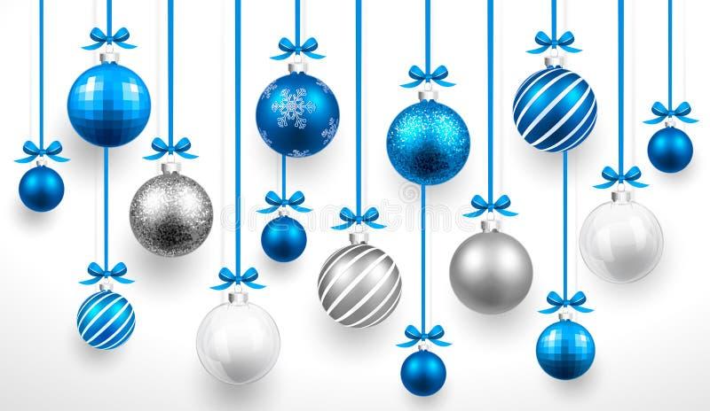 Weihnachtsblaubälle Vektor stock abbildung