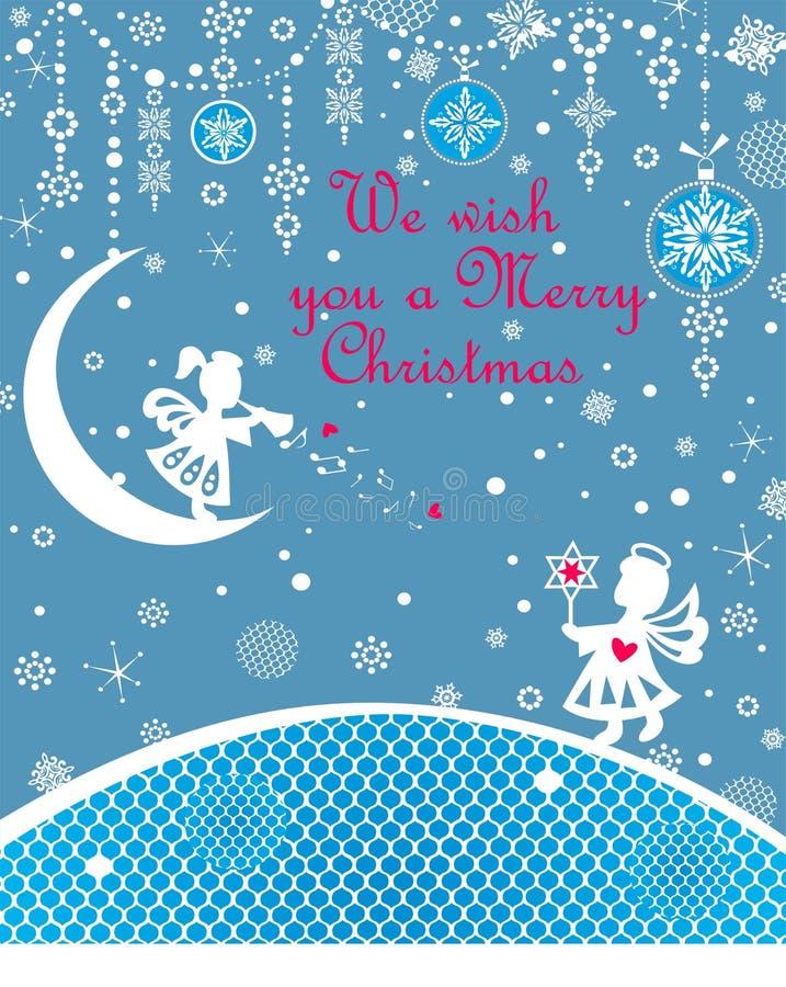 Weihnachtsblaue kindische Grußkarte mit dem Weißbuch des Handwerks, das kleine Engel, Weihnachtsstern, Schneeflocken schneidet un vektor abbildung