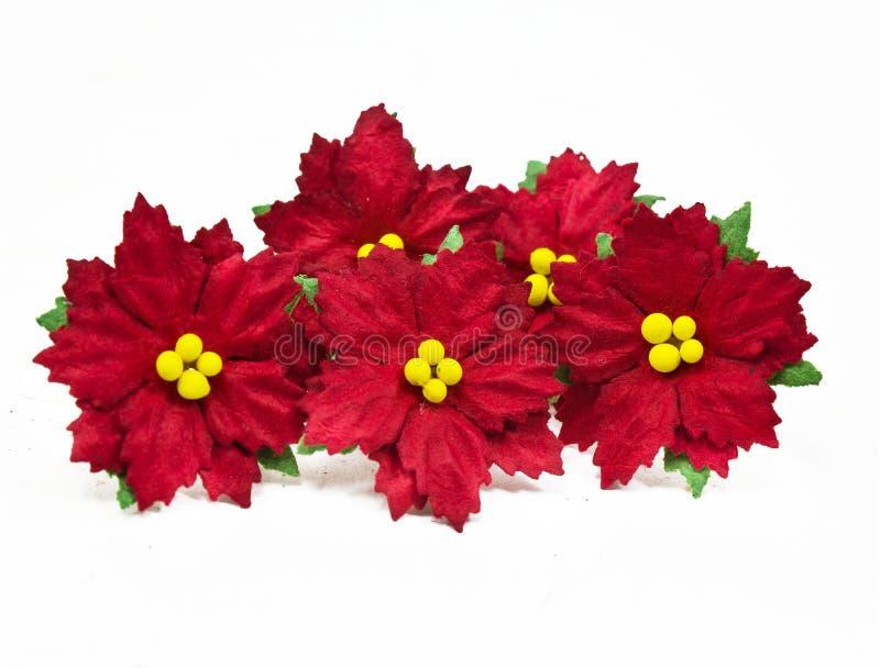 Weihnachtsblumen-Papierweiß Lokalisiert. Papier Machte Blumen ...