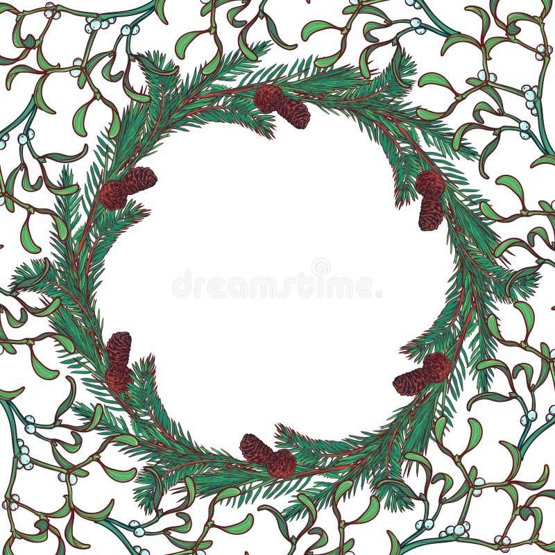 Weihnachtsblumenkreisrahmen Tannenbaum- und -mistelzweigniederlassungen mit Blättern, Kegeln und Beeren Weihnachtsmann auf einem  lizenzfreie abbildung