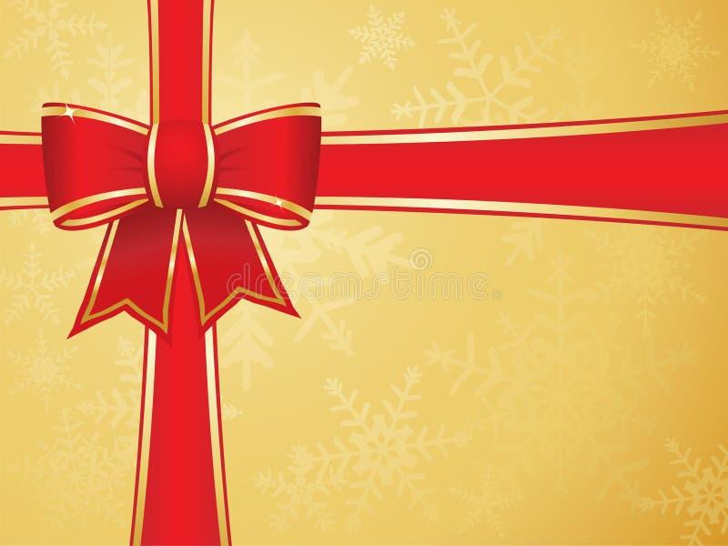 Weihnachtsbogen und -farbbänder mit Goldhintergrund vektor abbildung