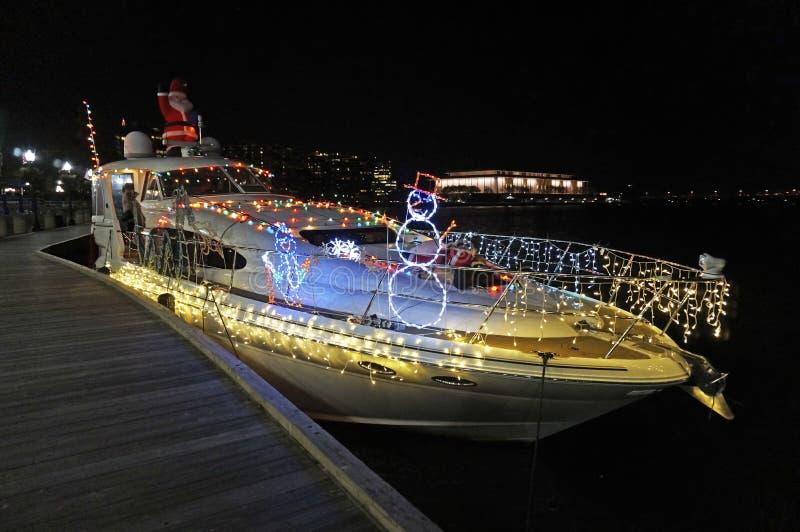 Weihnachtsboot in Georgetown stockbilder