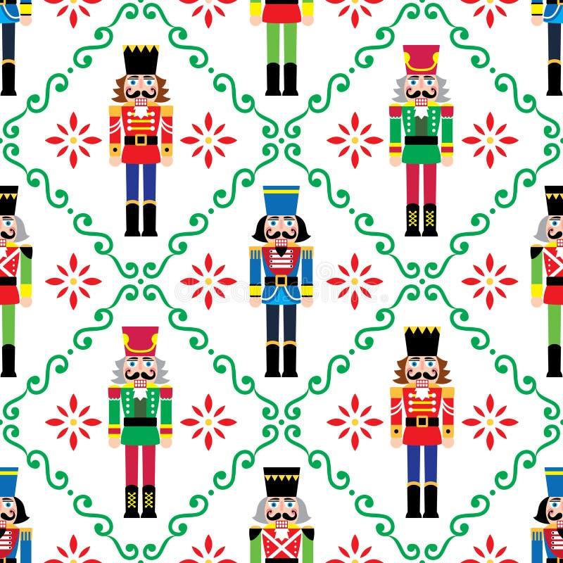 Weihnachtsboutiquen nahtloses Muster - Xmas-Soldat-figurine repetitive Ornamente, Textilinstrumente vektor abbildung