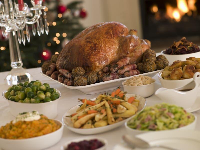 Weihnachtsbraten die Türkei mit allen Zutaten lizenzfreie stockfotos