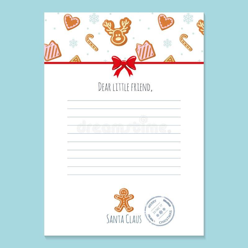 Weihnachtsbrief von Santa Claus-Schablone Plan in der Größe A4 Muster mit den Lebkuchenplätzchen hinzugefügt in den Mustern stock abbildung