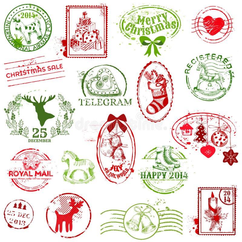 Weihnachtsbriefmarkensammlung stock abbildung