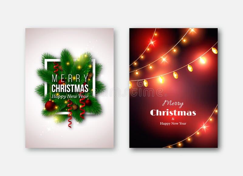 Weihnachtsbroschürenschablonen, dekorative Karten Kiefer t des neuen Jahres vektor abbildung