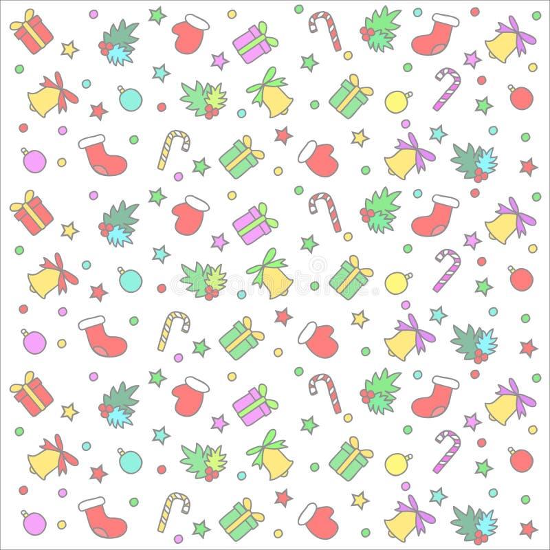 Weihnachtsbuntes nahtloses Muster lizenzfreie abbildung