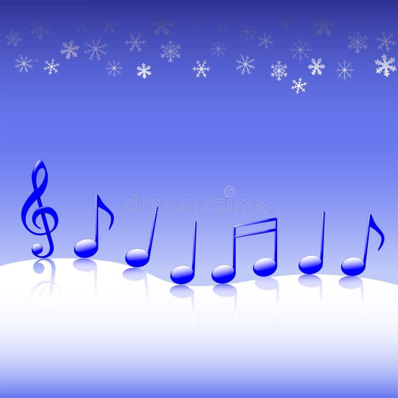 Weihnachtscarol-Musik auf Schnee lizenzfreie abbildung