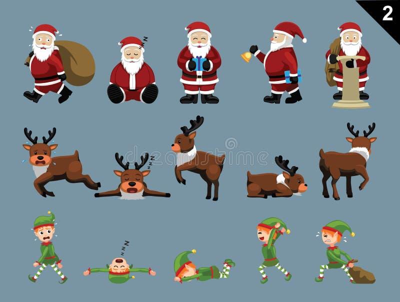 Weihnachtscharaktere Santa Deer Elf Various Poses stellten 2 ein lizenzfreie abbildung