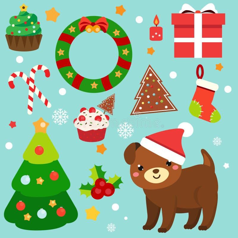 Weihnachtsclipart 2018 Aufkleber des neuen Jahres, Gestaltungselemente Hund, Fichte, Kranz, Zuckerstangen und andere Symbole für  vektor abbildung