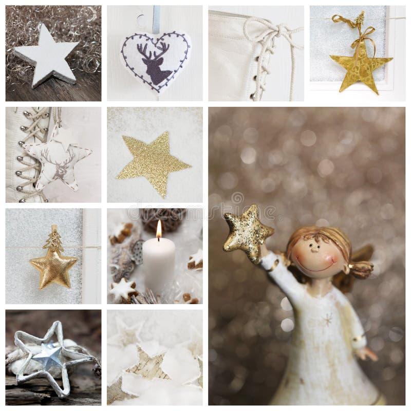 Weihnachtscollage im Weiß und Gold mit Engel, Kerze, spielt die Hauptrolle lizenzfreies stockfoto