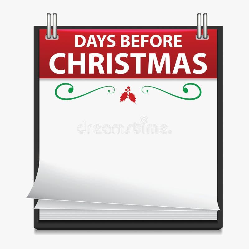 Weihnachtscountdown-Kalender vektor abbildung