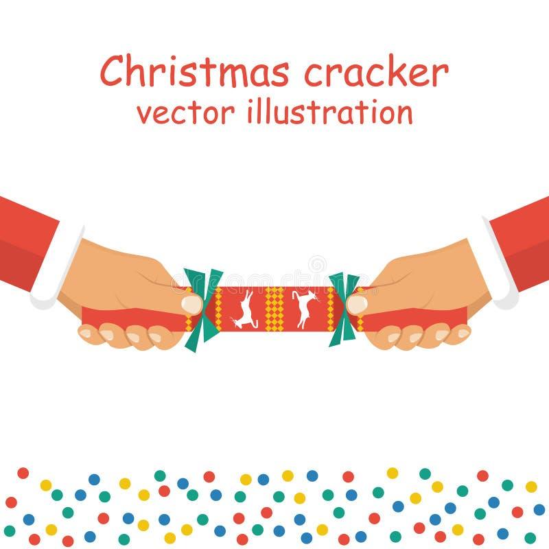 Weihnachtscracker, der in der Hand hält lizenzfreie abbildung