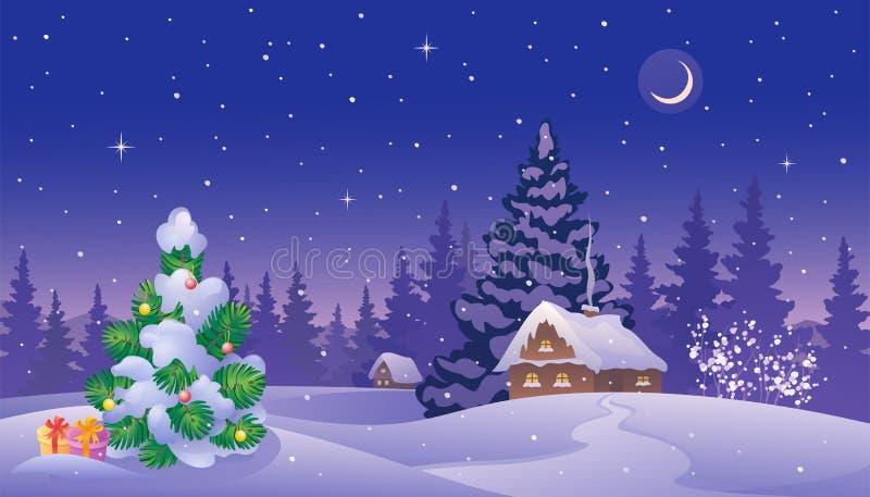 Weihnachtsdämmerungslandschaft stock abbildung