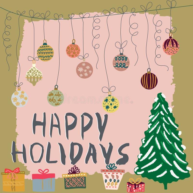 Weihnachtsdekor mit Geschenken, Baum, Bälle auf strukturiertem Hintergrund stock abbildung