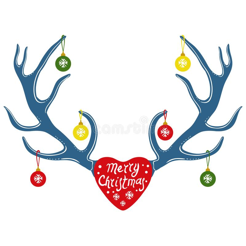 Weihnachtsdekoration auf Renhörnern, Vektorillustration vektor abbildung