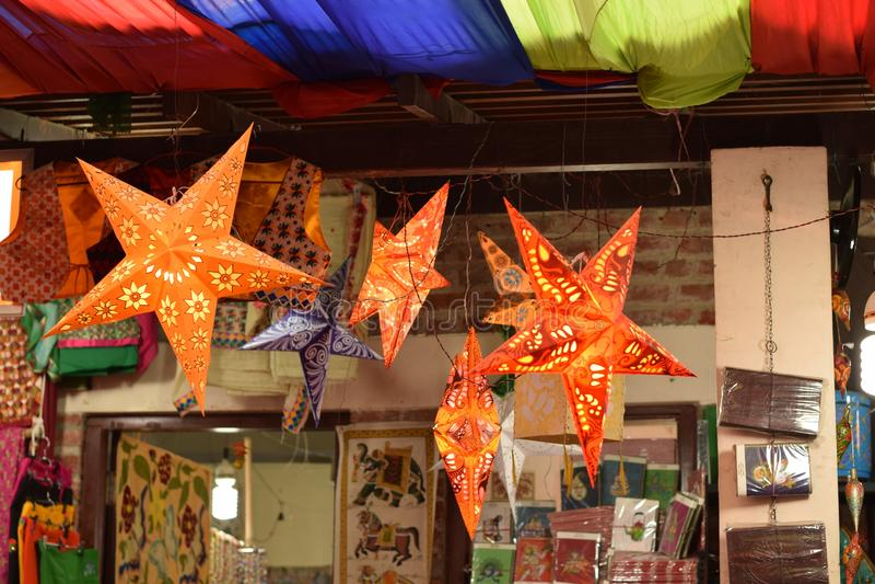 Weihnachtsdekoration in Delhi, Indien stockbilder