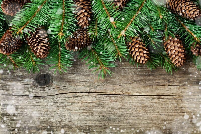 Weihnachtsdekoration des Tannenbaums und des Nadelbaumkegels auf strukturiertem hölzernem Hintergrund, magischer Schneeeffekt lizenzfreie stockbilder
