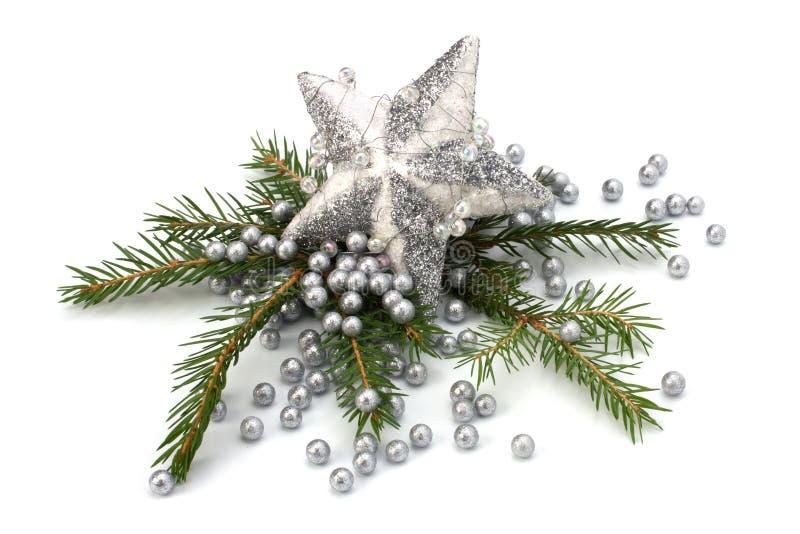 Weihnachtsdekoration getrennt auf weißem Hintergrund stockfotos