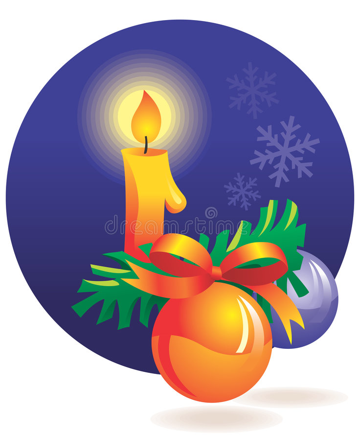 Weihnachtsdekoration - Kerze lizenzfreie abbildung