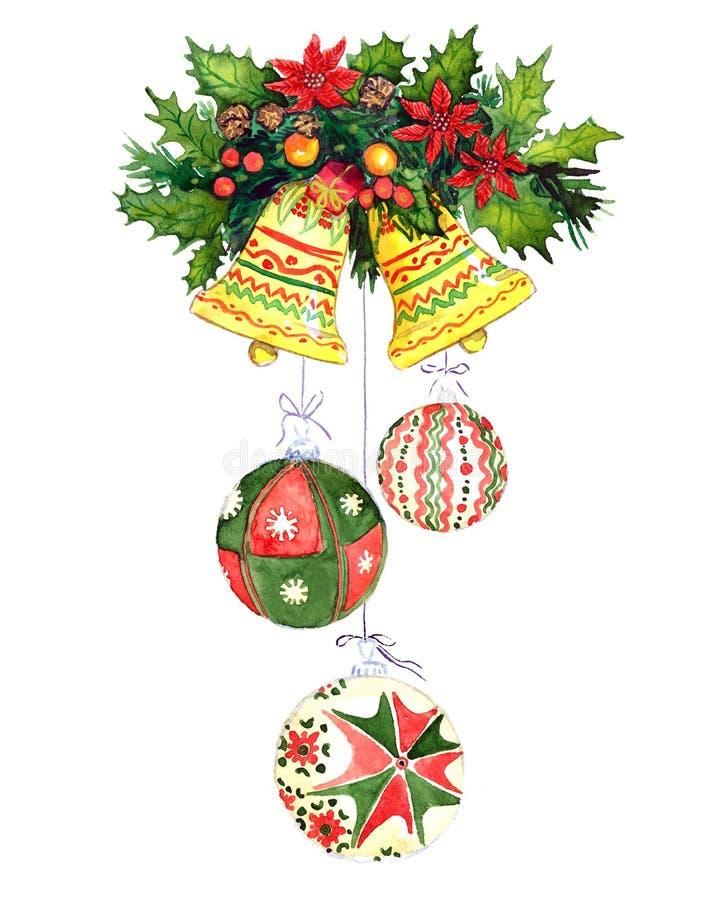 Weihnachtsdekoration mit Kieferniederlassungen, Beeren, Glocken und Stechpalme lizenzfreie abbildung
