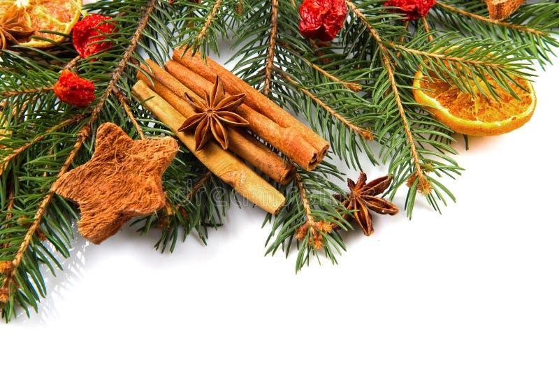 Weihnachtsdekoration, Orange, Sternanis und Zimt lizenzfreie stockfotografie