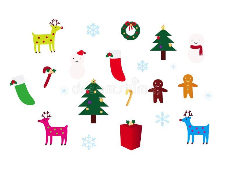Weihnachtsdekoration-Set stock abbildung