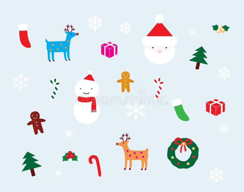 Weihnachtsdekoration-Set lizenzfreie abbildung