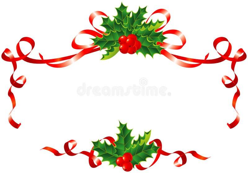 Weihnachtsdekoration/Stechpalme und Farbbandrand lizenzfreie abbildung