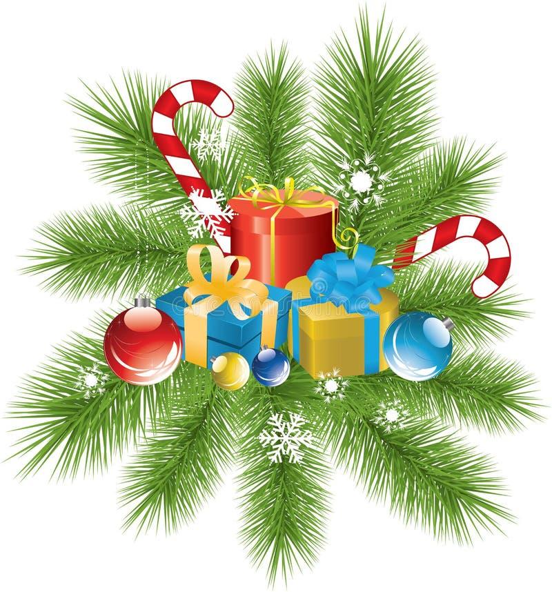 Weihnachtsdekoration und -geschenke stock abbildung