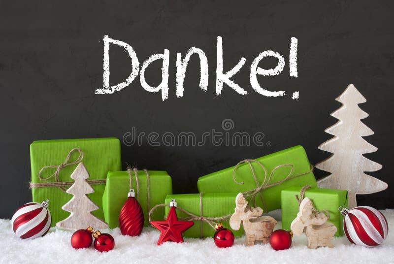 Weihnachtsdekoration, Zement, Schnee, Danke-Durchschnitte danken Ihnen stockfotos