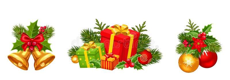 Weihnachtsdekorationen mit Bällen, Glocken und Geschenkboxen Auch im corel abgehobenen Betrag vektor abbildung