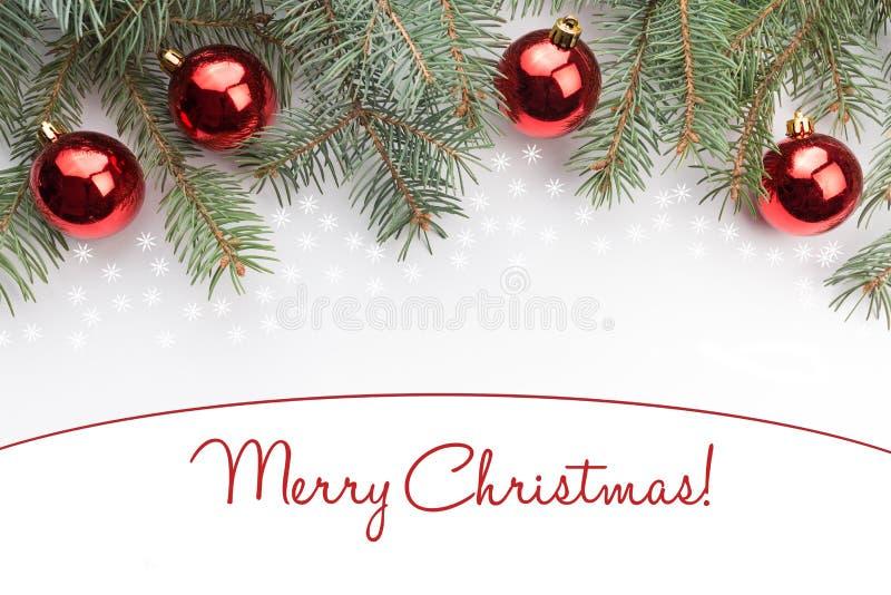 Weihnachtsdekorationen mit den Gruß ` frohen Weihnachten! ` stockfotografie