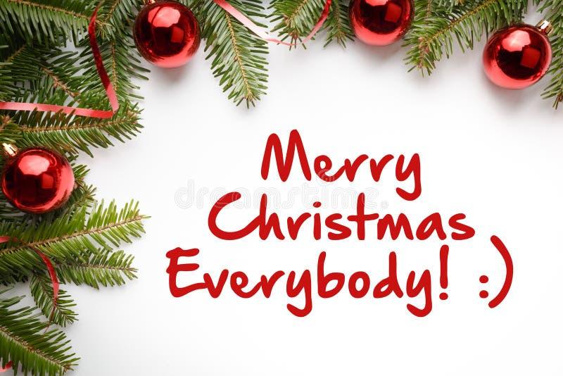 Weihnachtsdekorationen mit Gruß ` frohen Weihnachten jeder! : ` stockfotografie