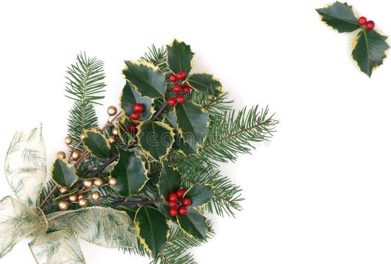 Weihnachtsdekorationen mit Stechpalmebeeren lizenzfreies stockfoto
