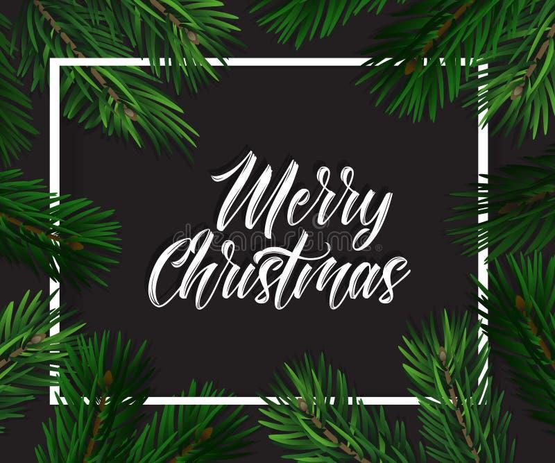 Weihnachtsdekorationen mit Tannenbaum, Kiefernkegeln, Stechpalmenbeeren und dekorativen Elementen Grußkarte der frohen Weihnachte stock abbildung